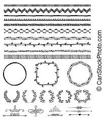 hand-drawn, elementos, desenho, seamless, fronteiras