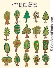 hand-drawn, jogo, floresta árvore