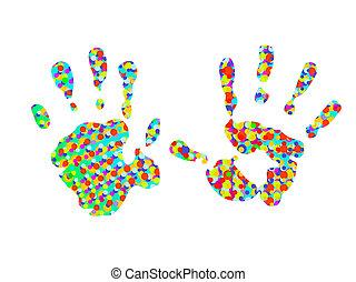 hand-prints, dois, coloridos