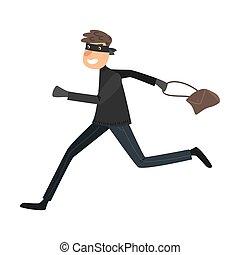 handbag., caricatura, apartamento, executando, pretas, roubado, style., vetorial, ladrão, máscara, ilustração