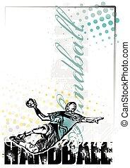 handball, fundo, cartaz