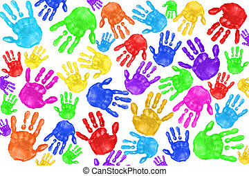 handpainted, crianças, handprints