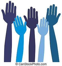 hands., alcançar, ou, votando