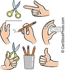 hands., ilustração, vetorial