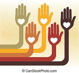 hands., unidas, amando, grupo