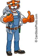 handyman, mascote, segurando, martelo, tiger, carpinteiro