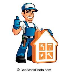 handyman, trabalho, desgastar, roupas