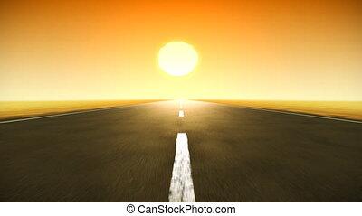 hd., pôr do sol, estrada, volta