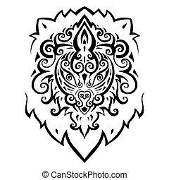 head., leão, pattern., étnico