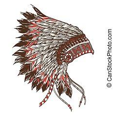 headdress., americano índio, ilustração, chefe, vetorial, nativo