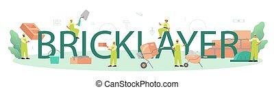 header., construtor, tipográfico, pedreiro, construir, profissional, tijolo