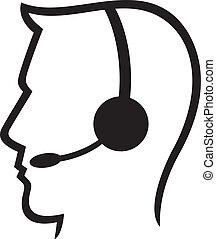 headset, c, símbolo, (homem, chamada, headset