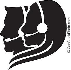 headset, símbolo, headset), (women