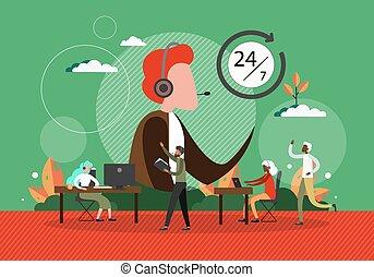 headset, telefone., vetorial, helpdesk, centro, telefone, conversa, trabalho, homem, conceito, linha, operator., equipe, pessoas, chamada, cliente, escritório., serviço, illustration., apoio