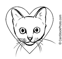 heart., caricatura, morder, pretas, enorme, gato