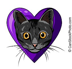 heart., gato, morder, pretas, enorme, caricatura