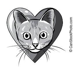 heart., monocromático, morder, enorme, gato, caricatura, pretas