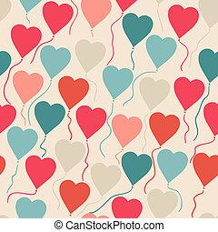 heart., padrão, voando, seamless, forma, balões