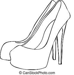 heeled, alto, elegante, stiletto, sapatos