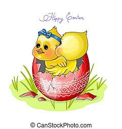 heppy, galinha, páscoa, ilustração, sentar, ovo, vetorial, dois, vermelho