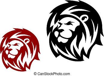 heraldic, cabeça, leão