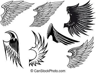 heraldic, jogo, isolado, asas