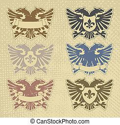 heraldic, jogo, selos