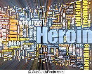 heroína, nuvem, glowing, palavra