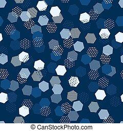 hexágono, seamless, pattern., fundo, abstratos, texture., modernos, padrão, vetorial, hexagonal, célula, geomã©´ricas, design., azul, experiência., clássicas