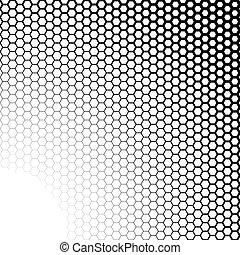 hexágonos, pretas, fundo branco, gradiente