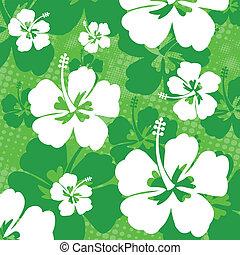 hibisco, padrão, flor, seamless