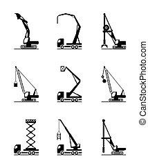 high-rise, maquinaria construção