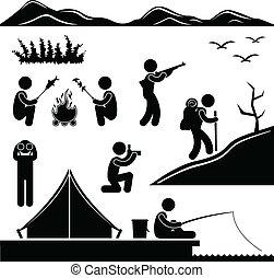 hiking, acampamento, selva, acampamento, trekking