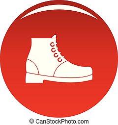 hiking, vetorial, botas, vermelho, ícone