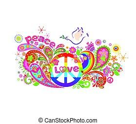 hippie, coloridos, cartaz, abstratos, paz, flores, arco íris, pomba, símbolo