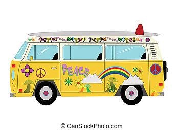 hippie, furgão