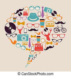 hipster, ícones, media., retro, social