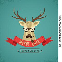 hipster, fita, veado, natal, fundo