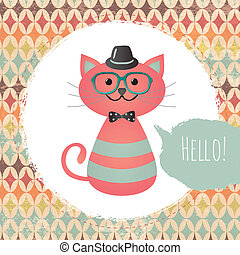 hipster, quadro, gato, textured, desenho, ilustração