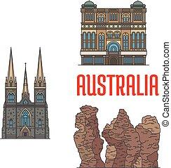 histórico, austrália, arquitetura, sightseings