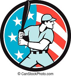 hitter, bandeira eua, americano, massa, retro, basebol, círculo