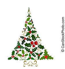 holly, árvore, natal