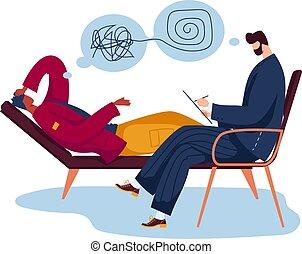 homem, ajuda, macho, problema, caricatura, psicólogo, illustration., mente, isolado, paciente, profissional, vetorial, branca, personagem, configuração