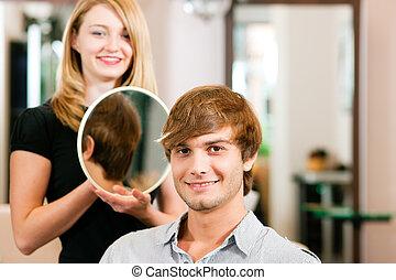 homem, cabeleireiras
