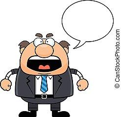 homem, caricatura, gritando saliência