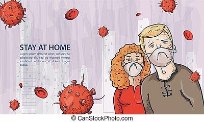 homem, contorno, ilustração, máscaras, coronavirus, aviso, dois, covind, inscrição, moléculas, 2019-ncov, pessoas, vírus, vermelho, mulher