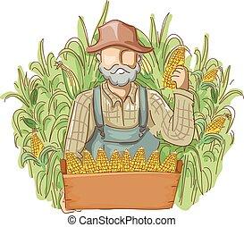 homem, cornfields, produto, agricultor