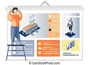 homem, descrição, fábrica, automação, cartaz, apresentação, indústria, robot-driven, olhar