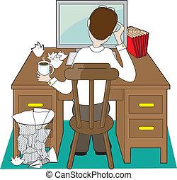 homem, escrivaninha