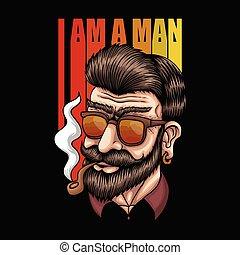 homem, fumaça, vetorial, retro, ilustração